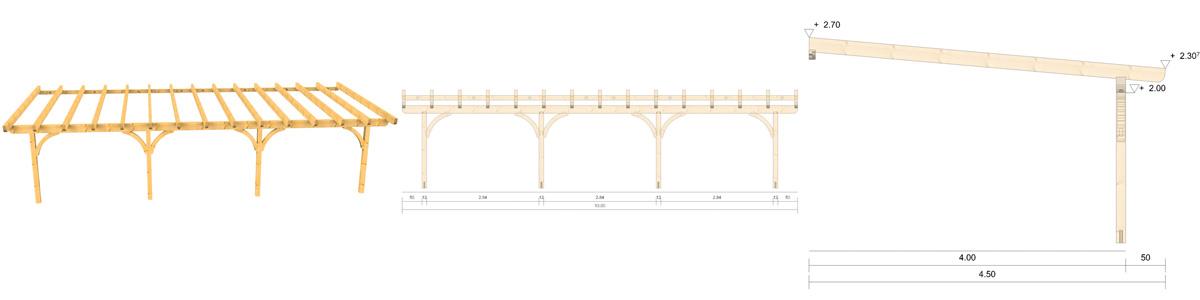 Holz Terrassenüberdachung 10m Breite