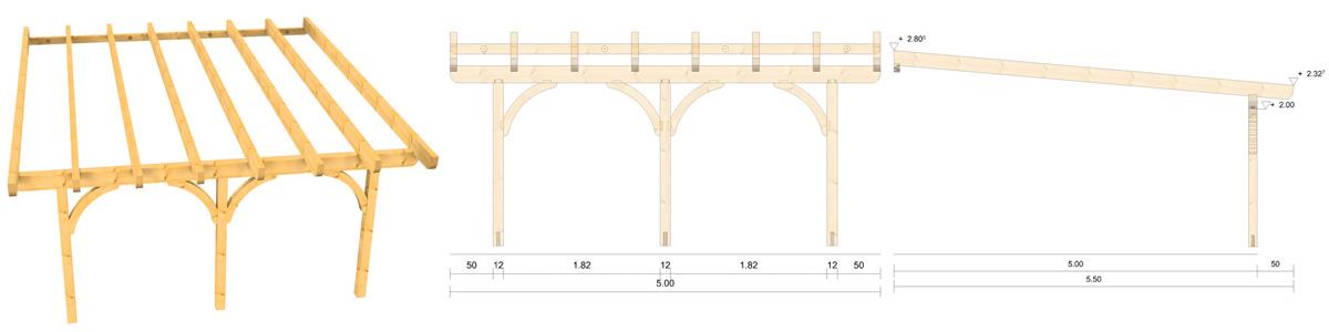 Holz Terrassenüberdachung 5m Breite