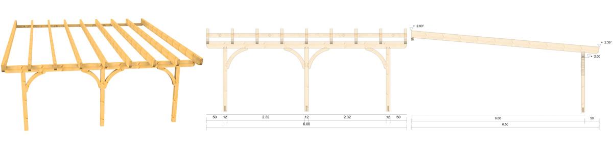 Holz Terrassenüberdachung 6m Breite