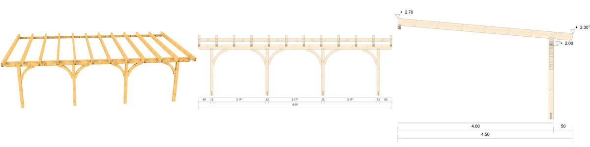 Holz Terrassenüberdachung 8m Breite